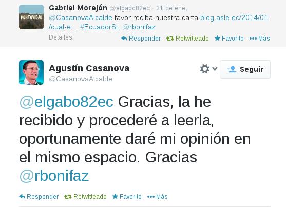 Agustín Casanova carta de ASLE