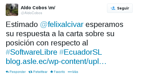 Entrega carta a Felix Alcivar
