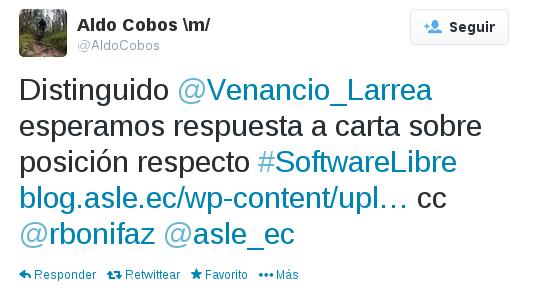 Tuit carta a Venacio Larrea