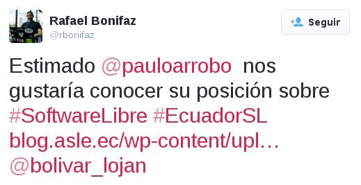 Tuit a Paulo Arrobo