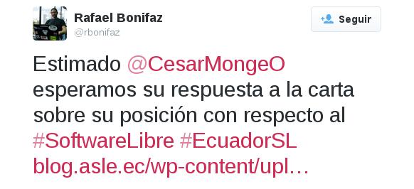 Tuit a César Monje