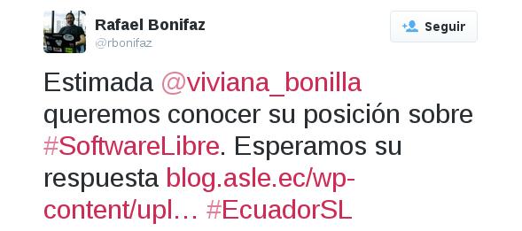 Tuit a Viviana Bonilla