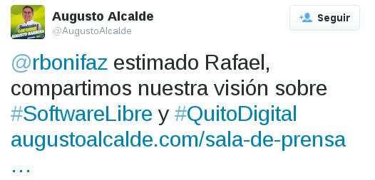 Respuesta de Augusto Barrear a ASLE en Twitter